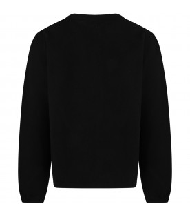 Black cardigan for girl with logo