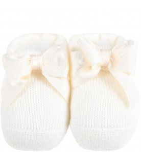 Ivory baby-bootee for baby girl with bow