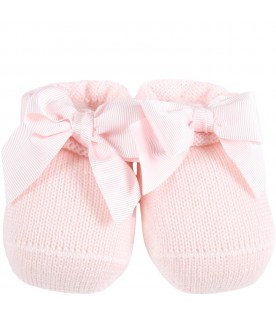 Pink baby-bootee for baby girl with bow