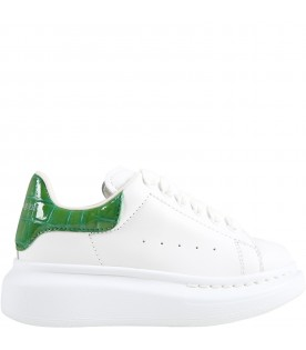 White sneakers for kids with crocodile effect