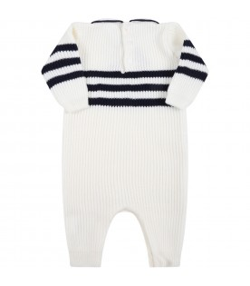 White babygrow for baby boy with blue details