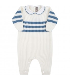 White babygrow for baby boy with light-blue details