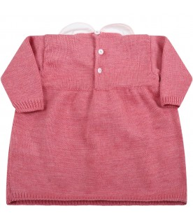 Pink dress for baby girl with bow