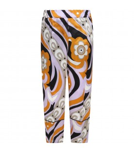 Multicolor trousers for girl with iconic print