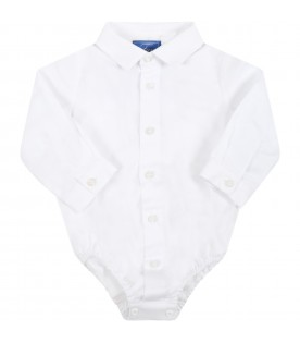 White shirt for baby boy with logo