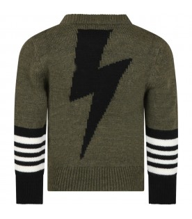 Green sweater for boy with thunder