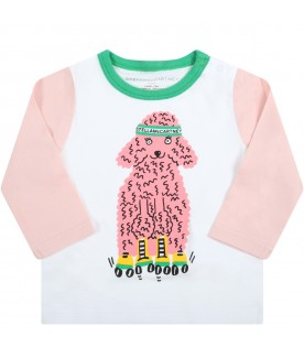 Multicolor t-shirt for baby girl with dog