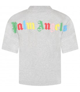 Gray T-shirt for girl with multicolor logo