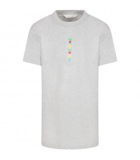 Gray dress for girl with multicolor logo