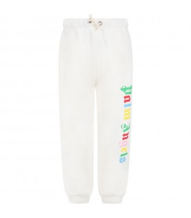 Ivory sweatpants for kids with multicolor logo