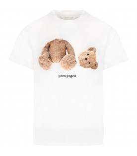 White t-shirt for boy with bear
