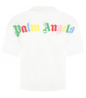 White T-shirt for boy with multicolor logo