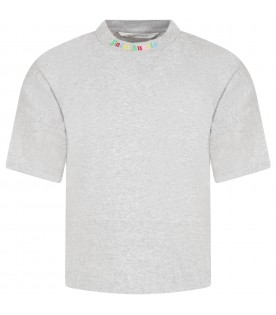 Gray T-shirt for boy with multicolor logo