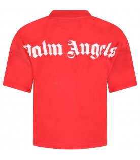 Red T-shirt for kids with white logo