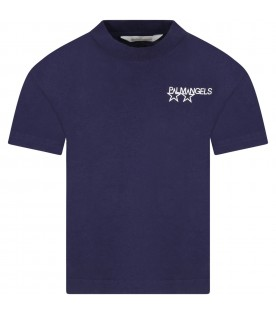 Blue T-shirt for kids with logo and print