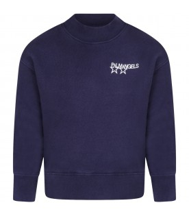 Blue sweatshirt for kids with logo and print