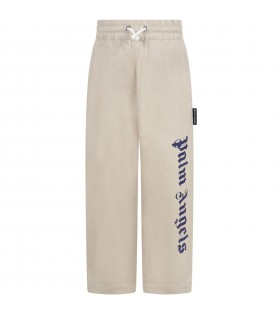 Beige trousers for kids with blue logo