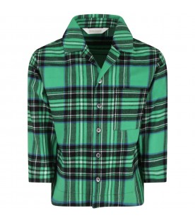 Green shirt for kids with white logo
