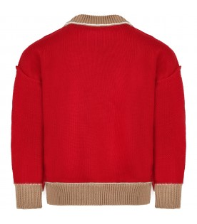Red sweater for kids with bear and logo