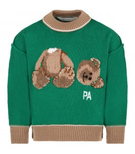 Green sweater for kids with bear and logo