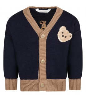 Cardigan blue for kids with bear and logo
