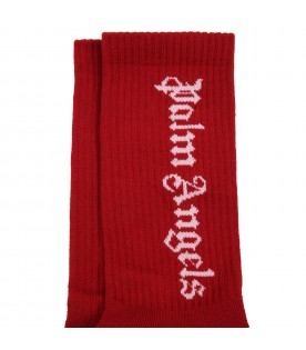Red socks for kids with white logo