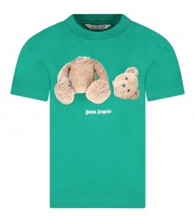 Green T-shirt for kids with bear and logo