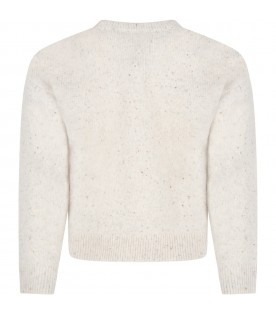 Beige sweater for girl with writing