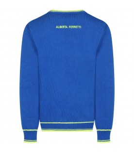 Royal blue sweater for girl with writing