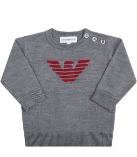 Grey sweater for baby boy with eagle