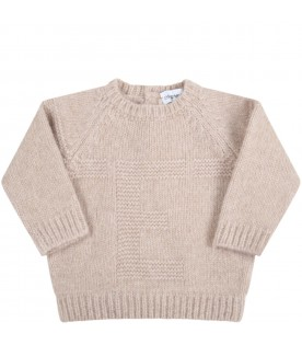 Beige sweater for baby boy with logo