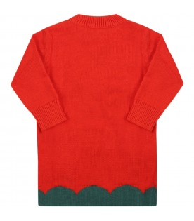 Red dress for baby girl with tulipan