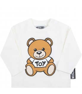 White t-shirt for baby kids with teddy bear