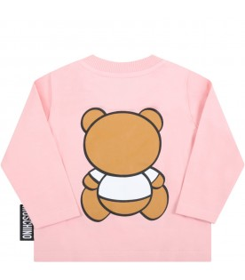 Pink t-shirt for baby girl with teddy bear