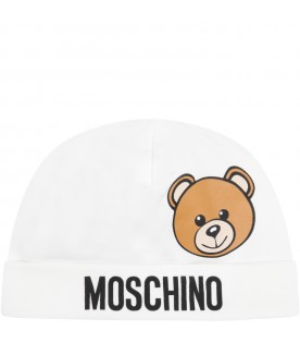 White hat for baby kids with teddy bear