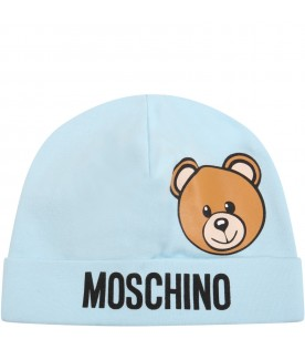 Light blue hat for baby boy with teddy bear