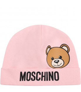 Pink hat for baby girl with teddy bear