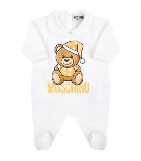 White babygrow for baby kids with teddy bear