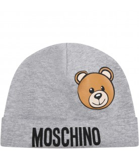 Grey hat for baby kids with teddy bear