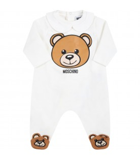 White set for baby kids with teddy bear