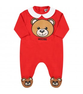 Red set for baby kids with teddy bear