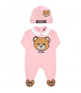 Pink set for baby girl with teddy bear
