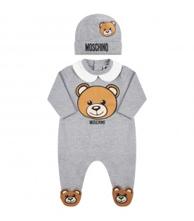 Grey set for baby kids with teddy bear