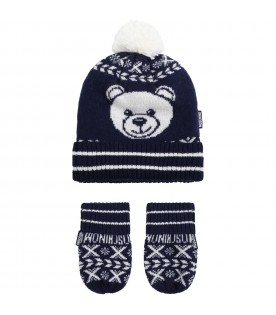 Blue set for baby kids with white teddy bear