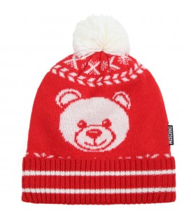 Red set for baby kids with white teddy bear