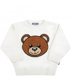 Ivory sweater for baby kids with teddy bear