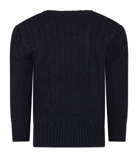 Blue sweater for boy with red pony
