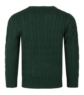 Green sweater for boy with yellow pony