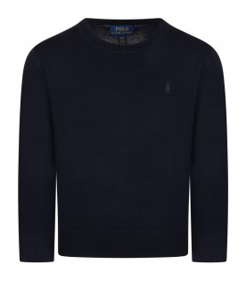 Blue sweater for boy with blue pony