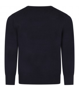 Blue sweater for boy with V neck and red pony